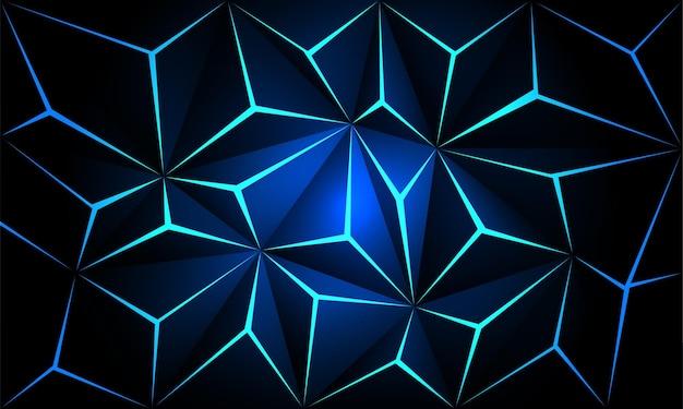Абстрактный металлический многоугольник синий свет футуристические технологии дизайн фона вектор