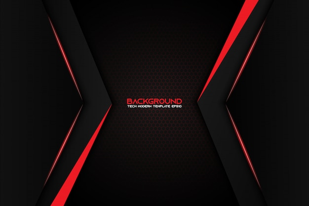 Abstract metallic red black background modern tech design