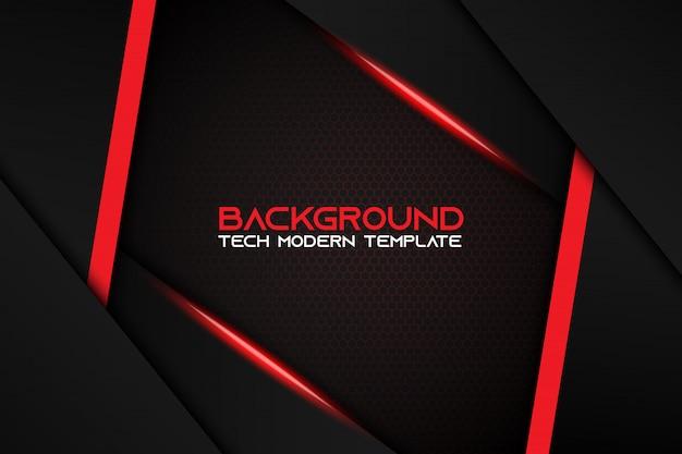 Abstract metallic red black background modern tech design