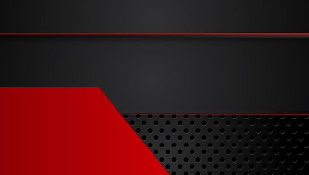 コントラストストライプと抽象的な金属赤黒の背景。抽象的なグラフィックパンフレットデザイン