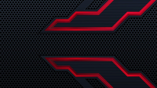 コントラストのストライプと抽象的なメタリック赤黒の背景。抽象的なベクトルグラフィックパンフレットdesign.frame技術革新の概念。