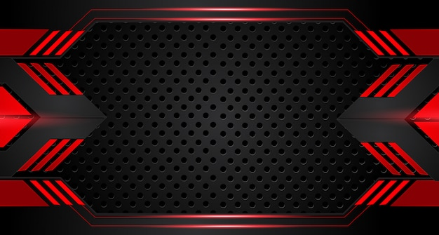 Abstract metallic red black frame layout design tech innovation concept background