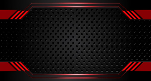 Абстрактный металлический красный черная рамка макет дизайна технологий инновационной концепции фон