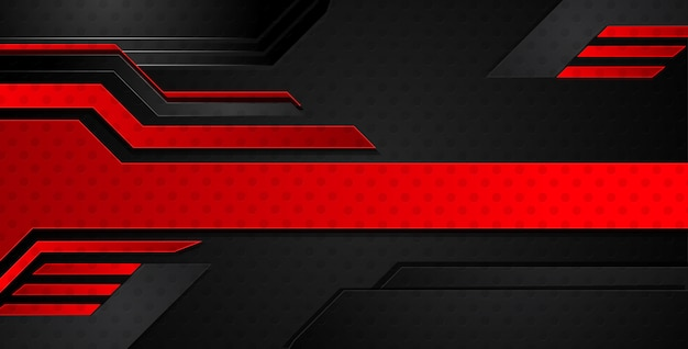 Abstract metallic red black frame layout modern tech design template background.