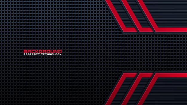 추상 금속 빨간색 빛나는 색상 블랙 프레임 레이아웃 현대 기술 디자인 벡터 템플릿 배경