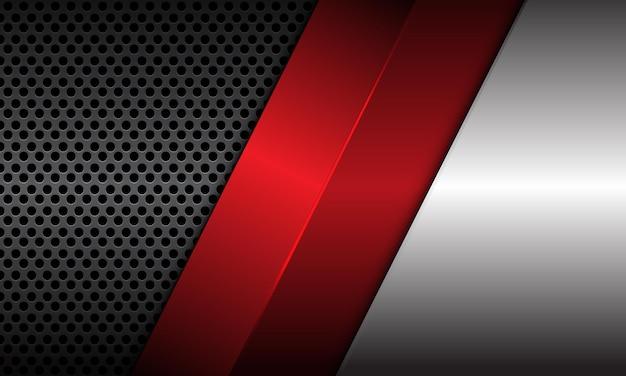灰色の金属の円のメッシュと赤い線で抽象的なメタリックシルバーの背景