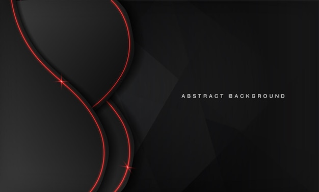 Abstract metallic wave black frame layout modern technology design template with red neon light