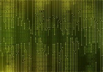 抽象的なマイクロチップ回路基板システム緑の背景