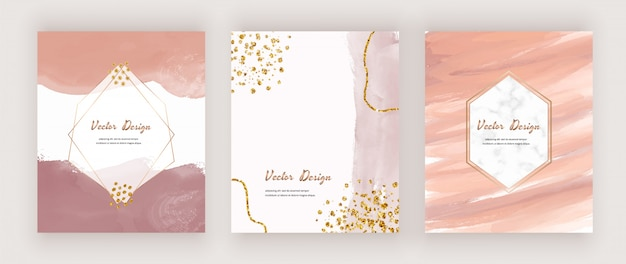 Abstract mid century cards with watercolor shapes, golden glitter confetti and geometric white marble frames.