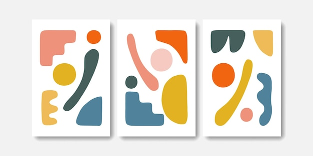 Abstract mid century concept wall art set