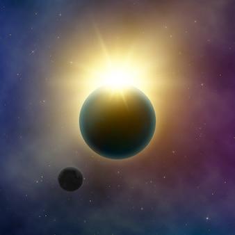 추상 은하수. 일식. 행성 지구와 달 뒤에 태양이 빛납니다. 별이 빛나는 밤하늘. 배경 그림