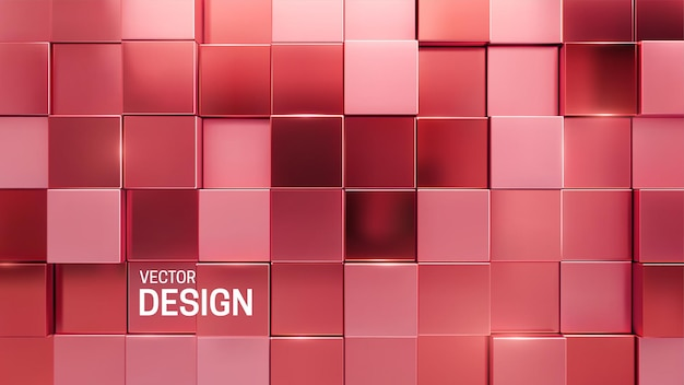 Abstract minimal 3d background with random metallic pink mosaic square shapes