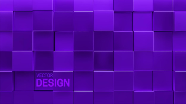 Abstract minimal 3d background with random purple mosaic square shapes