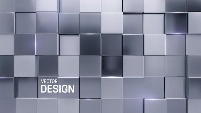 抽象最小的三维背景与随机的银色马赛克正方形