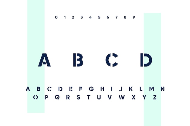 Abstract minimal alphabet letters