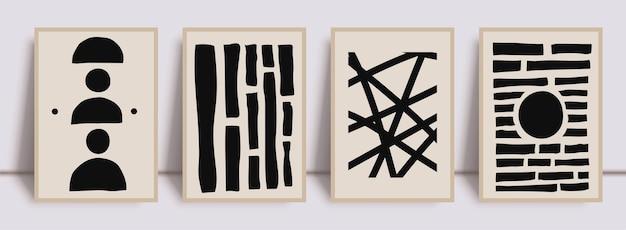 Абстрактный минимальный черный набор с принтом в стиле бохо