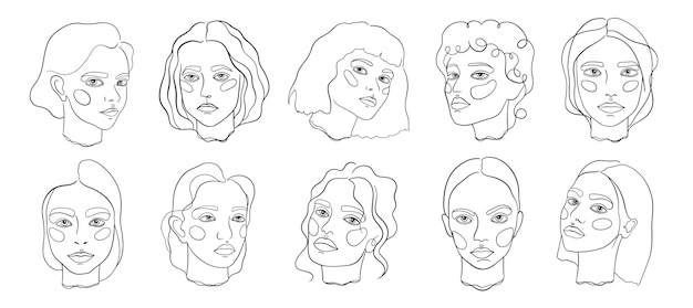Abstract minimal face line art set