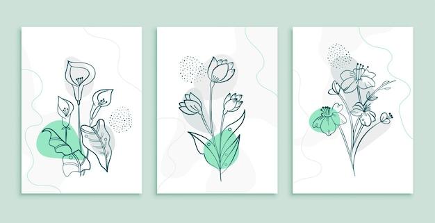 추상 최소한의 꽃과 나뭇잎 장식 배경 포스터 세트
