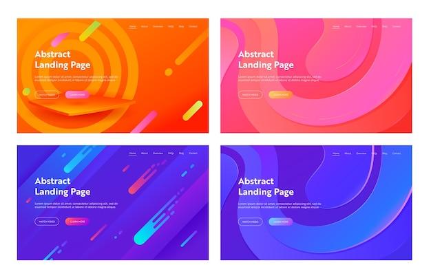 추상 최소한의 기하학적 커버 방문 페이지 세트. 웹 사이트 또는 웹 페이지에 대한 현대 동적 디지털 요소 개념에 대한 다채로운 미래의 밝은 레이아웃. 플랫 만화 벡터 일러스트 레이션