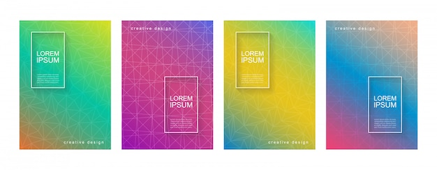 Abstract minimal geometric gradient cover background template set