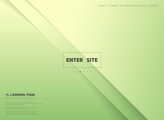 Abstract minimal gradient green yellow landing page vector background.