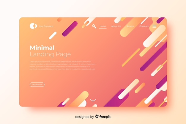 Abstract minimal landing page in flat design