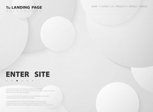 Abstract minimal landing page of white circle gradient background.