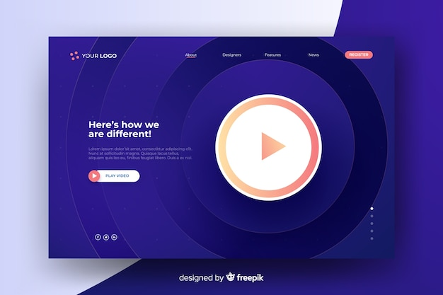 Abstract minimal landing page with play button