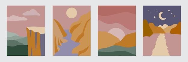 Abstract minimal landscapes set of contemporary artistic posters