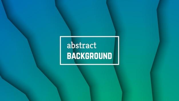 抽象的な最小限の線の幾何学的な背景。バナー、テンプレート、カードの緑色の線のレイヤー形状。ベクトルイラスト。