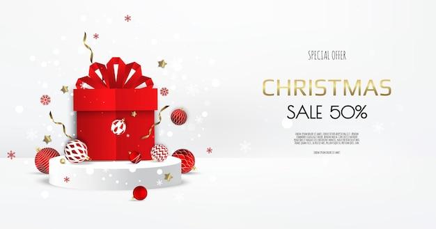 最小限のモックアップシーンを抽象化します。ショー製品展示用の表彰台形状。ギフトボックスと冬のクリスマスの白い背景。