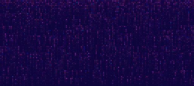Abstract minimal pink purple blue vertical random dotted pattern on dark blue background