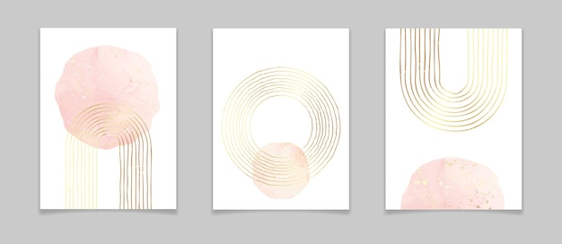 Abstract minimal posters with gold lines and watercolor elements