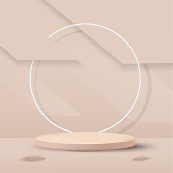 シリンダー表彰台と葉とパステル背景の抽象的な最小限のシーン。製品、バナー、販売、プレゼンテーション、化粧品、割引のステージモックアップショーケース。 3d