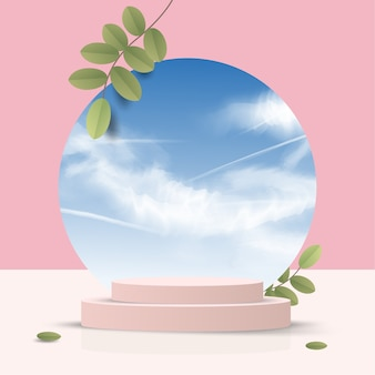 Abstract minimal scene on pastel background with cylinder podium and leaves. stage mockup showcase for product, banner, sale, presentation, cosmetic and discount. 3d