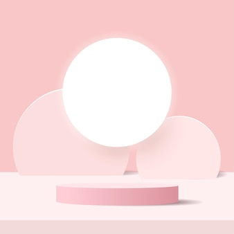 Abstract minimal scene on pastel background with cylinder podium and leaves.