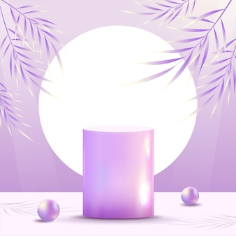 Abstract minimal scene on pastel background with cylinder  shiny glass podium and leaves. stage mockup showcase for product, banner, sale, presentation, cosmetic and discount. 3d vector illustration.
