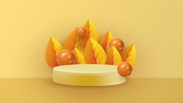 가을 기하학적 형태가 있는 추상적인 최소한의 장면. 가 식물 잎 오렌지 배경에서 실린더 연단. 제품 프레젠테이션, 모형, 제품 쇼, 연단, 무대 받침대 또는 플랫폼.