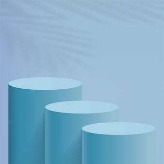 青いシリンダーの表彰台を持つ抽象的な最小限のシーン。ベクトルイラスト。