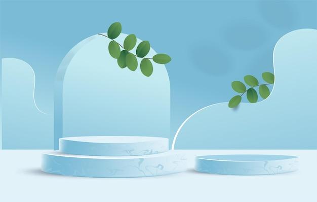 Абстрактная минимальная сцена с подиумом цилиндра и листьями. сценическая витрина 3d