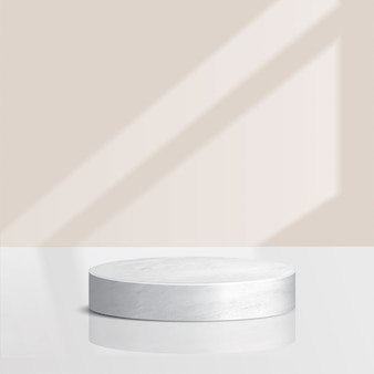Abstract minimal scene with geometric forms. cylinder marble podium   with leaves. product presentation. podium, stage pedestal or platform. 3d
