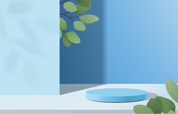 Abstract minimal scene with geometric forms. cylinder podium in blue background with leaves.