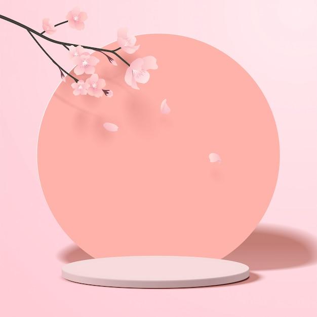 기하학적 형태와 추상 최소한의 장면. 종이 사쿠라 꽃과 분홍색 배경에 제품에 대 한 실린더 연단 표시 또는 쇼케이스 이랑.