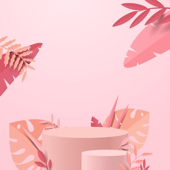 Abstract minimal scene with geometric forms. cylinder podium display or showcase mockup for product in pink background with paper leaves.