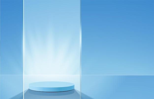 기하학적 형태의 추상 최소한의 장면. 파란색 배경에서 실린더 연단입니다.
