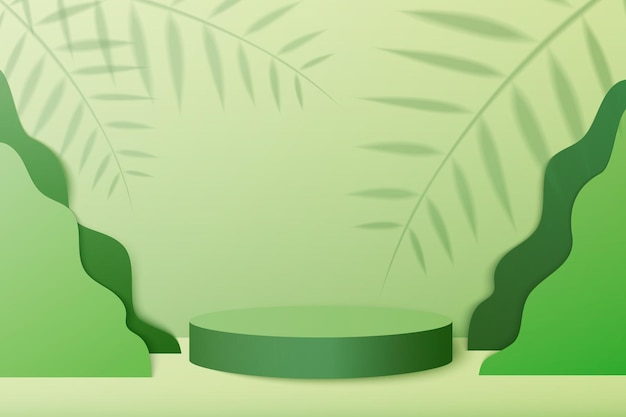 幾何学的な形で抽象的な最小限のシーン。緑の植物の葉と緑の背景のシリンダー表彰台。製品のプレゼンテーション、モックアップ、ショー製品、表彰台、ステージ台座またはプラットフォーム。 3dベクトル
