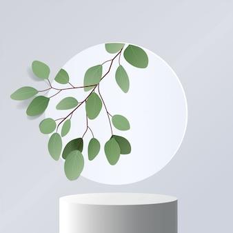 Абстрактная минимальная сцена с геометрическими формами. подиум цилиндра в белом фоне с листьями. презентация продукта. подиум, пьедестал или перрон. 3d