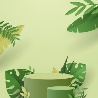 Abstract minimal scene with geometric forms. cylinder podium in nature green background with green plant leaves.