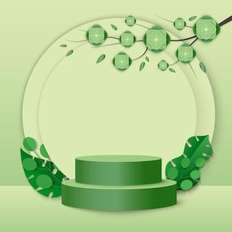 緑の植物の葉と緑の背景に幾何学的な形のシリンダー表彰台を持つ抽象的な最小限のシーン