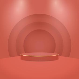 幾何学的な形で抽象的な最小限のシーン。ライト付きシリンダー表彰台。製品のプレゼンテーション。表彰台、ステージ台座またはプラットフォーム。